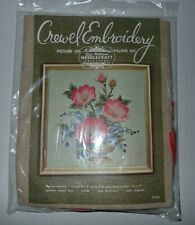 Elsa Williams Crewel Embroidery Picture Pillow Needlecraft Kit Floral New Vintag