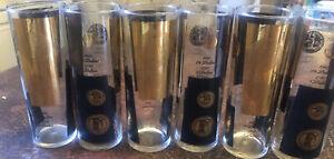 "VINTAGE SET OF 6 Federal BLACK & GOLD COIN Tall GLASSES 6 3/4"" MCM Mad Men"