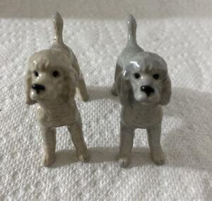 2 Porcelain Dollhouse Miniature Poodle Dogs