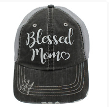 BLESSED MOM with Heart in Glitter Print Women's Trucker Hat- Gray Mesh Back