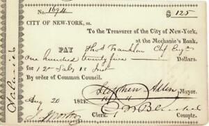 NY City Treasury Check Mechanics Bank Signed by Mayor 1821
