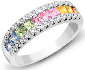 18CT GOLD RING RAINBOW SAPPHIRE  DIAMOND ETERNITY18 CARAT WHITE GOLD BAND  N