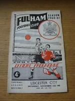 12/11/1960 Fulham v Leicester City  (Heavy Creased, Folded & Team Changes). No o