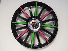 "4 Alu-Design Radkappen in 16 Zoll ""Grand Prix CRAZY"" pink/grün MODELL 2012"