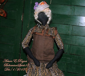 ARTISAN AMERICANA SOFT SCULPTURE FOLK ART PRIMITIVE WITH HAT ORIGINAL DOLL