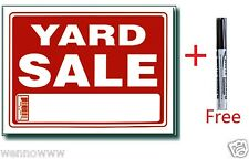 """5 Pcs 9 x 12 Inch Plastic """" Yard Sale """" Sign with a Free Erasable Marker"""