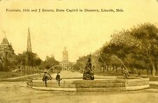 Lincoln,NE. The Fountain at 11th and J Streets 1910