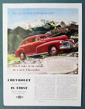 Large Full Page Original 1948 Chevrolet  Car Ad PIKES PEAK - TAKE IT IN STRIDE