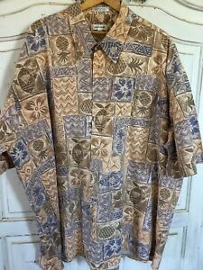 Pierre Cardin Shirt Men's 3XLT Tan and blue Hawaiian print. Fish, Pineapples.