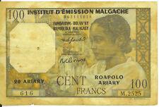 Madagascar 1961 ND 100 Francs 20 Ariary Malgache P-52 Overprint on P-46 Fine