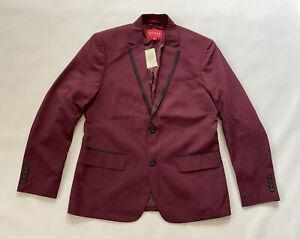 Guess Men's Regular Fit Blazer In Burgundy Size M