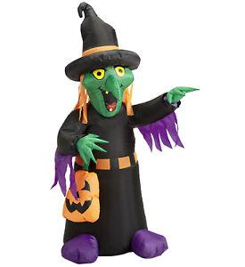 Aufblasbare leuchtende Hexe mit Ventilator 122cm Halloween Party Deko Grusel neu