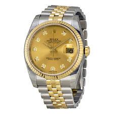 Rolex Datejust Champagne Diamond Dial Jubilee Bracelet Two Tone Mens Watch