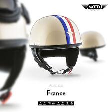 MOTO D22 FRANCE CREME - CASCO DEMI-JET SCOOTER CASCHI PILOT HELMET S M L XL XXL