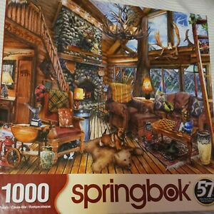Springbok 1000 Piece Puzzle Called The Hunting Lodge cabin nature animals