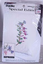 "Hummingbird Cross Stitch Stamped Pillow Cases Bucilla 64087 20 x 30"" One Pair"
