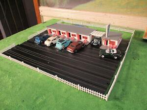 Vintage Atlas Plasticville Route 66 Hotel T Jet Slot Car Track Set Building