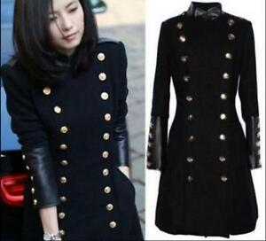 Womens Slim Fit Wool Blend Trench Double Breasted Long Jacket Military Coat S-XL