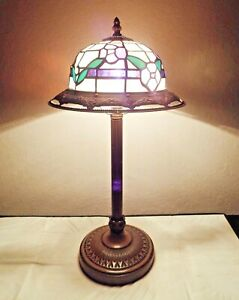 """LAMPS A ART-DECO THEMED TIFFANY STYLE 21""""H SLAG-GLASS & ORNATE CAST TABLE LAMP"""