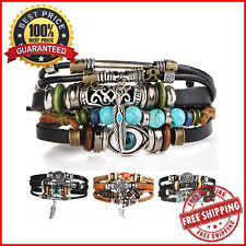 Bohemian Bracelet Tibet Stone Feather Multilayer Leather W/ Eye Charms For Women
