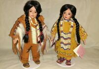 Pair of Paradise Galleries Cindy Shafer Native American Porcelain Dolls Vintage