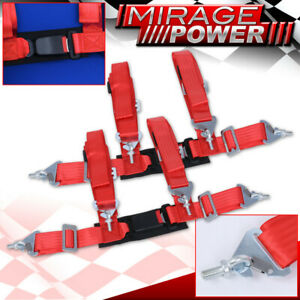 """Red 4 Point Safety Seat Belt Harness Strap Pair 2"""" W/ Buckle Latch On / Off"""