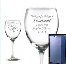 Engraved WINE GLASS PERSONALISED Red wine glass, White wine glass blue gift box