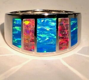 Wide Windows Ring Blue Red Opal Sterling Silver MAGIFICENT 10 Man Men U