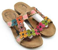 ELITE CORKYS FLOWER SANDALS SHOES SIZE 9 US BROWN LEATHER FLORAL TOOLED HIPPIE