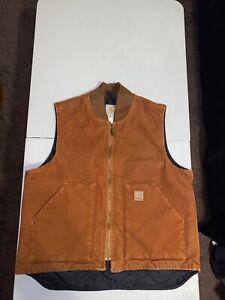 Vintage Carhartt Vest Quilt Lined Orange Mens Size Large