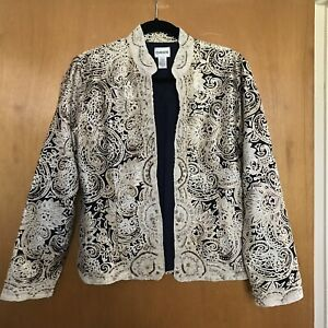 Chicos Womens Jacket 1 Silk Open Embellished Mandarin Collar Beige Blue Gold