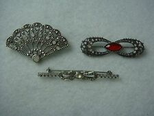 Rhinestone Set Of 3 Pin Brooches Fashion Early 2000s Victorian Style Silver Tone