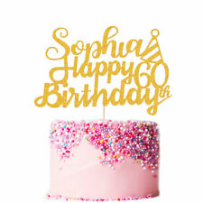 Personalised Birthday Cake Topper Customized Any Name Age Double Sided Glitter