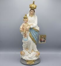 Large Antique Chalkware Statue Our Lady of Victories Child Jesus Mary Madonna