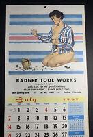 Racine Wisconsin Pin Up  Calendar Page sign  1957 Badger Tool