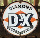 VINTAGE+DIAMOND+DX+LUBRICATING+MOTOR+FUEL+GASOLINE+GAS+OIL+PORCELAIN+SIGN