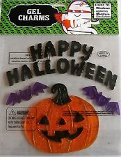 Halloween Window Gel HAPPY HALLOWEEN w/ LARGE PUMPKIN AND BATS