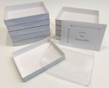 """White Boxes with Clear Lids Set of 10, Fits A6 Envelopes, 6 9/16 x 4 13/16 x 1"""""""