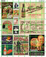 5039 DAVE'S DECAL HO SCALE DECALS WIZARD OIL PORTER BICYCLES KETCHUP 1900'S-30'S