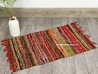 "Indian Cotton Runner Rug Dari Chindi Mat Handmade 2X3"" Feet Vintage Woven Area"