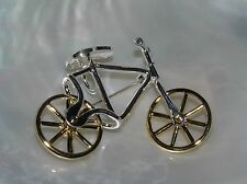Estate Silvertone w Goldtone Movable Spinning Wheels Bicycle Bike Pendant Pin