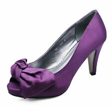 WOMENS SLIP-ON PURPLE SATIN OPEN-TOE ELEGANT PARTY EVENING COURT SHOES UK 3-8