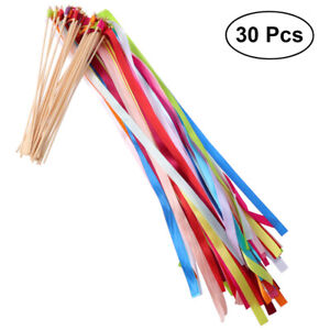 30/50pcs Wedding Wands Ribbon Streamers with Bell Fairy Stick Party Supplies