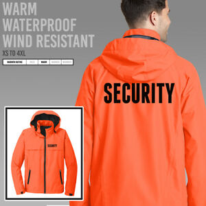Security Jacket Hooded Waterproof Wind Resistant Guard EMT Uniform Orange