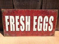 FRESH EGGS Farm Sign Tin Vintage Garage Bar Decor Old Rustic