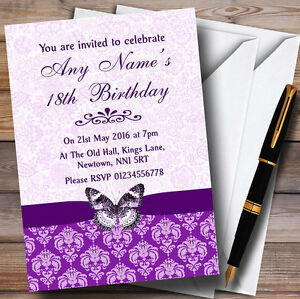 Cadbury Purple Floral Butterfly Personalised Birthday Party Invitations