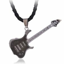 Hot Punk Rock Guitar Pendant Necklace Chain Stainless Steel Christmas Jewellery