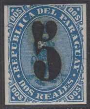 PARAGUAY 1878 Sc 5 OVERINKED FORGED SURCHARGE HINGED MINT (CV$325)