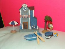 7 pc Beach Getaway Vacation Boat Surf Shack Gnome Palm Tree Swing Fairy Garden