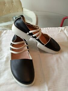 Trippen Black & White Leather Mary Jane Shoes, Sz 37/ 6.5, 7